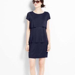 Ann Taylor Tiered Tee Dress Navy Blue